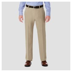 Haggar H26 Men's Performance 4 Way Stretch Classic Fit Trouser Pants - Khaki (Green) 42x32