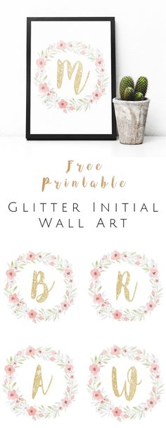 Diy Crafts Ideas : FREE Printable Glitter Initial Wall Art – Watercolor and gold glitter monogram. Arts And Crafts, Paper Crafts, Diy Crafts, Initial Wall Art, Alphabet Wall Art, Monogram Wall Art, Idee Diy, Free Prints, Wall Prints