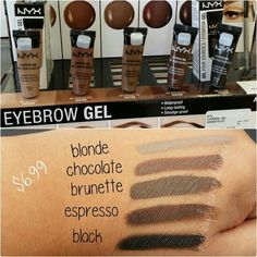 New nyx brow gel. Waterproof, smudge-proof, and long lasting. Mufe aqua brow dupe!