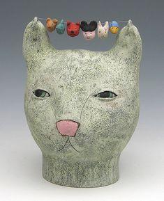глины керамические скульптуры животных кошка Сара Swink