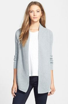 Free shipping and returns on Vince Camuto Open Front Cardigan (Regular & Petite) at Nordstrom.com. Multidirectional engineered ribbing creates subtle contrast for a versatile open-front cardigan crafted from a cottony-soft knit. A draped shawl collar enhances the easygoing design.