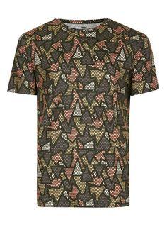 Khaki Geometric Print T-Shirt - TOPMAN USA