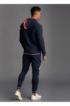 Gym King Armstrong Tracksuit Top - Navy Nights - Hoodies & Sweaters from Urban Celebrity UK Versace Tracksuit, Slim Fit Joggers, Tracksuit Tops, Clothing Tags, Cool Jackets, Jd Sports, Sport Fashion, Sweater Hoodie, Jogging