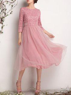 Pink Crew Neck 3/4 Sleeve Midi Dress