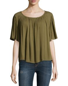 On the Road Lola Relaxed Flowy Blouse, Olive (Green)