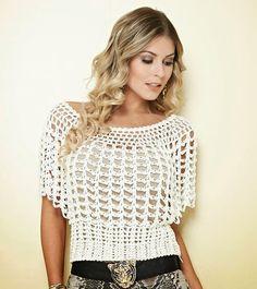 Blusa em crochê com gráfico e receita - Katia Ribeiro Moda e Decoração Handmade