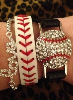 Baseball jewelry for game day! I had a baseball bracelet exactly like the middle one, and it's nasty and old now :( Baseball Season, Baseball Mom, Baseball Stuff, Baseball Girlfriend, Angels Baseball, Baseball Clothes, Softball Stuff, Baseball Party, Football