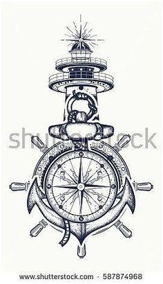 72604032 anchor steering wheel compass lighthouse tattoo art symbol of maritime adventure tourism travel old 13 Kunst Tattoos, Body Art Tattoos, New Tattoos, Sleeve Tattoos, Tattoos For Guys, Tatoos, Bird Tattoos, Feather Tattoos, Nature Tattoos