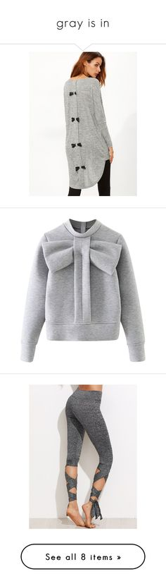 """""""gray is in"""" by amelicaa25 ❤ liked on Polyvore featuring tops, t-shirts, grey t shirt, bow back top, knit top, long sleeve tops, scoop neck t shirt, hoodies, sweatshirts and sweaters"""