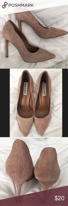 Beige Steve Madden Suede Pumps Slight wear but in good condition.  I can't walk in skinny heels so they have to go. beige cream tan Steve Madden Shoes