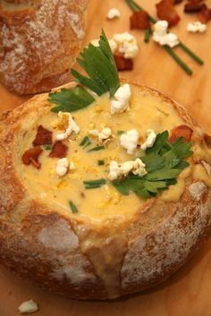 Beer Cheese Soup in a Bread Bowl #yum #foodgasm #foodporn