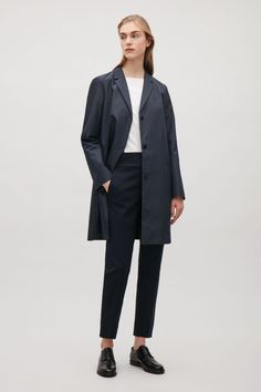 COS image 4 of Tailored twill coat in Navy