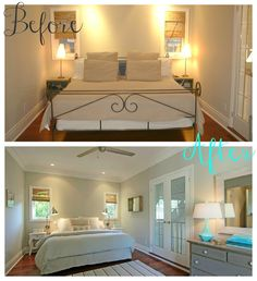 Simple, simple staging tips to make room feel more inviting -- remove baseboard of bed to open it up, rug to warm it up, mirror/neutral pic on sides vs over head of bed for balanced but larger feel