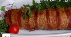 A fasírt hozzávalói: Hozzávalók: 50 dkg darált sertés-marhahús keveréke 2 db tojás 4 csapott ek zsemlemorzsa Őrölt b... Meatloaf, Sushi, Sausage, Bacon, Pork, Cooking, Ethnic Recipes, Cakes, Pork Roulade