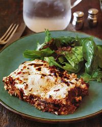 Moussaka features two shortcuts, neither of which sacrifices flavor: The eggplant is broiled rather than fried, and the topping is a mixture of cheese and milk instead of béchamel sauce ♥ Food & Wine