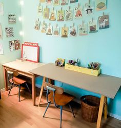 One of our fabulous readers recently shared this lovely craft studio she put together for her two boys using her own version of our DIY kid's craft desk - we're drooling over those fantastic little chairs!
