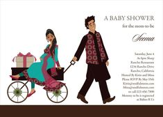 Wagon Diva - Indian Baby Shower Invitations by #Soulfulmoon