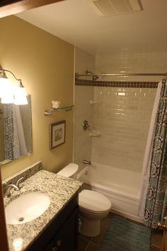 Bathroom Remodel, Brushed Nickel Fixture, Ceramic Tile, Cherry Vanity, Granite Vanity Top, Undermount Sink