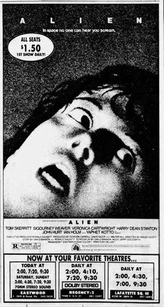 Classic Horror Movies, Horror Film, Classic Films, Alien 1979, Old Movies, Vintage Movies, Tom Skerritt, Jerry Goldsmith, Awesome Posters