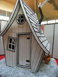 Amazing crooked cardboard house - perfect to construct for a whimsical window theme! Cardboard Playhouse, Cardboard Furniture, Cardboard Crafts, Cubby Houses, Play Houses, Victorian Dollhouse, Spook Houses, Stage Set, Wood Toys