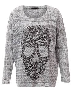 #CLOTHING CLOSET GREY SLOUCH SKULL KNIT by rubyredboutique.co.uk for £22.50