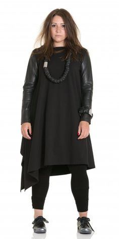 Kamuflage Black Asymmetric Edgy Tunic-Dress