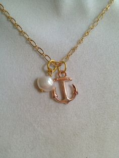 Bridal Anchor and Pearl Necklace by joytoyou41 on Etsy, $27.00