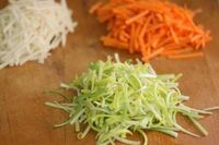 7 Veggie recipes for kids...  Julienne green cabbage, carrot, and zucchini. Saute in olive oil w/ pinch of salt until tender-crisp. Season and serve, or mix with pasta tossed with butter and Parmesan, or soy sauce and sesame oil.