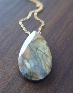 Large Pyrite Labradorite Necklace 14k Gold by friedasophie on Etsy, $45.00