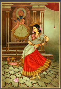 hinducosmos: The Dancer's Homage to Krishna Artist: Kailash Raj Water Color Painting on Paper (via Exotic India) Mughal Paintings, Indian Art Paintings, Indian Artwork, Colorful Paintings, Krishna Painting, Krishna Art, Krishna Images, Radhe Krishna, Shree Krishna