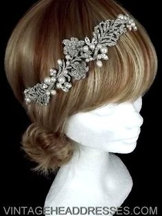 Vintage 1920s art deco floral bridal hair by VintageHeaddresses   I like the hair color