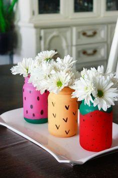 Mason Jar Crafts: Fruit Themed Jars Fruit Centerpieces, Birthday Party Centerpieces, Fruit Decorations, Quinceanera Centerpieces, Wedding Centerpieces, Painted Mason Jars, Mason Jar Diy, Mason Jar Crafts, Diy Jars