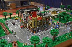 Gallery Wall Shelves, Art Pictures, Art Pics, City Layout, Lego Modular, Lego Worlds, Lego Architecture, Lego Moc, Train Layouts
