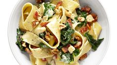 This pasta dish gets an extra kick from creamy Gruyère, white wine and bacon.