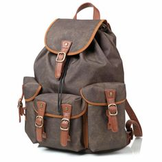 Waterproof Army Green Canvas Travel Backpack School Backpack Men's Backpack Cool Backpack FB15 - LISABAG