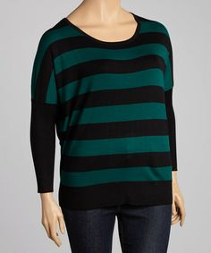 Take a look at this Emerald & Brown Stripe Dolman Sweater - Plus by Carol Rose on #zulily today!