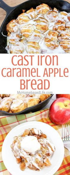 This Caramel Apple Pull-Apart Bread recipe is an all-time favorite around here. Caramel Apple recipes are a big hit every year and this one is delicious. #caramelapplerecipes #castironrecipes #myhomebasedlife #pullapartbreadrecipe #desserts | Dessert Recipes | Cast Iron Recipes | Caramel Apple Recipes | Dessert Bread Recipes via @myhomebasedlife6