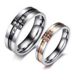 Titanium Matching Couple Ring Crystal Band Set (avail sizes 5 thru 12)