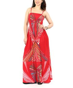 Loving this Red Abstract Maxi Dress - Plus on #zulily! #zulilyfinds