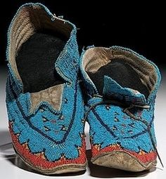 native american, America, Sioux beaded hide moccasins, first half 20th century, sinew-sewn using colors of red white-heart, dark and medium ...