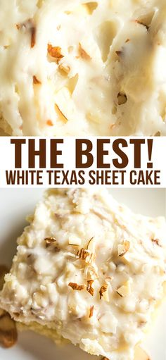 WHITE TEXAS SHEET CAKE This is a delicious, creamy, moist cake with a nice crunch to it because of the almonds. And let's not forget that it will feed a nice bunch of people! Köstliche Desserts, Best Dessert Recipes, Sweet Recipes, Delicious Desserts, Yummy Food, Health Desserts, Pancake Recipes, Health Foods, White Sheet Cakes