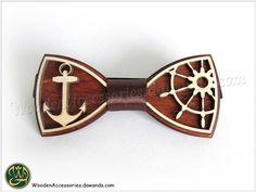 Bow Ties – Wood bow tie Marine, wooden unisex accessory – a unique product by VasilinKa on DaWanda