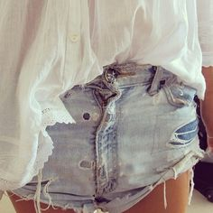 white linen button up edged in eyelet lace + faded, ripped denim cutoffs