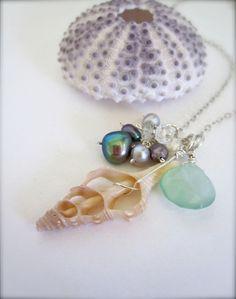Summer sea shell beach necklace. $47.00, via Etsy.