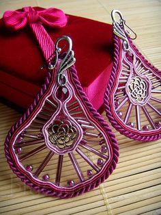 burgundy soutache earrings for flamenco dancer