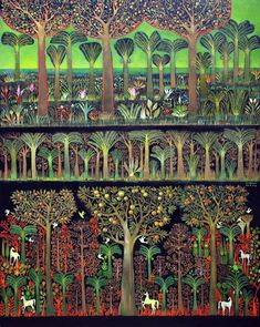 Visions from Garden of Eden – Suad Al-Attar Garden Of Eden, Figurative Art, City Photo, Forests, Modern, Gardens, Paintings, Trendy Tree, Woodland Forest