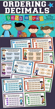 A total of ninety-six (96) task cards divided into four (4) sets created to help students practice their skills on ordering decimal numbers. $