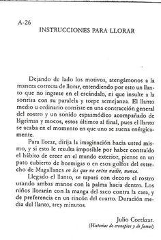 instrucciones para llorar #Cortázar