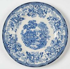 Blue Transferware Clarice Cliff Plate Tonquin Wading Swans Waterfall Roses Sail Boat.  via Etsy.