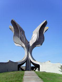 Jasenovac Memorial Area, Jasenovac, Croatia. Dedicated to concentration camp victims at the Jasenovac camp, held by the Ustasha. Designed by Bogdan Bogdanović, built in 1966.